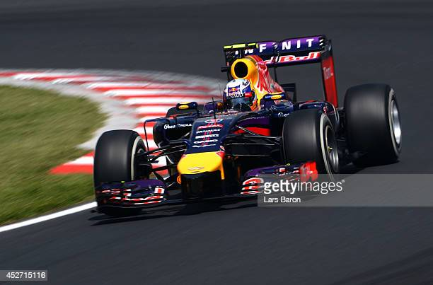 Daniel Ricciardo of Australia and Infiniti Red Bull Racing drives during final practice ahead of the Hungarian Formula One Grand Prix at Hungaroring...