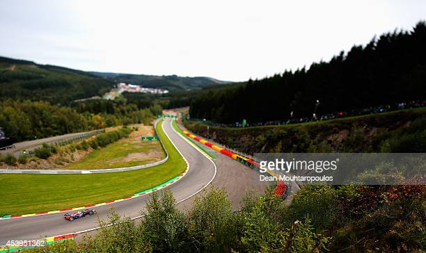 Daniel Ricciardo of Australia and Infiniti Red Bull Racing drives during practice ahead of the Belgian Grand Prix at Circuit de SpaFrancorchamps on...