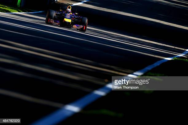 Daniel Ricciardo of Australia and Infiniti Red Bull Racing drives during Practice ahead of the F1 Grand Prix of Italy at Autodromo di Monza on...