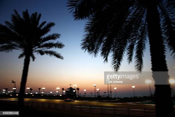 Daniel Ricciardo of Australia and Infiniti Red Bull Racing drives during practice ahead of the Abu Dhabi Formula One Grand Prix at Yas Marina Circuit...
