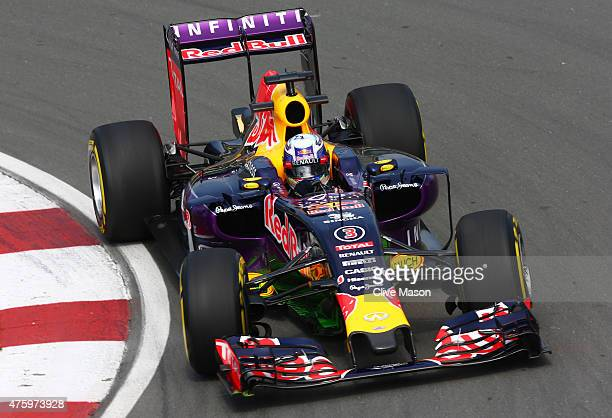 Daniel Ricciardo of Australia and Infiniti Red Bull Racing drives during practice for the Canadian Formula One Grand Prix at Circuit Gilles...