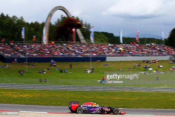 Daniel Ricciardo of Australia and Infiniti Red Bull Racing drives during the Formula One Grand Prix of Austria at Red Bull Ring on June 21 2015 in...