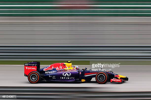 Daniel Ricciardo of Australia and Infiniti Red Bull Racing drives during the final practice session prior to qualifying for the Malaysia Formula One...