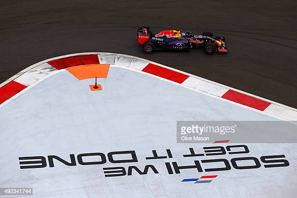 Daniel Ricciardo of Australia and Infiniti Red Bull Racing drives during the Formula One Grand Prix of Russia at Sochi Autodrom on October 11 2015 in...