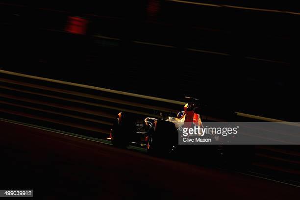 Daniel Ricciardo of Australia and Infiniti Red Bull Racing drives during qualifying for the Abu Dhabi Formula One Grand Prix at Yas Marina Circuit on...