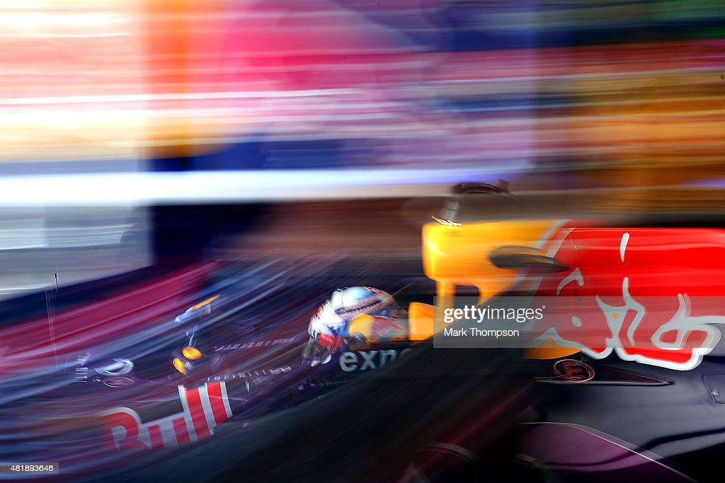 Daniel Ricciardo of Australia and Infiniti Red Bull Racing exits the garage during qualifying for the Formula One Grand Prix of Hungary at Hungaroring on July 25, 2015 in Budapest, Hungary.