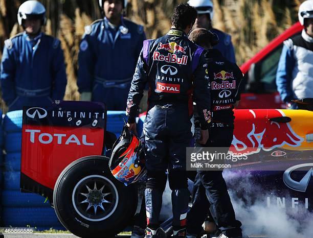 Daniel Ricciardo of Australia and Infiniti Red Bull Racing has a car breakdown on his installation lap during day three of Formula One Winter Testing...
