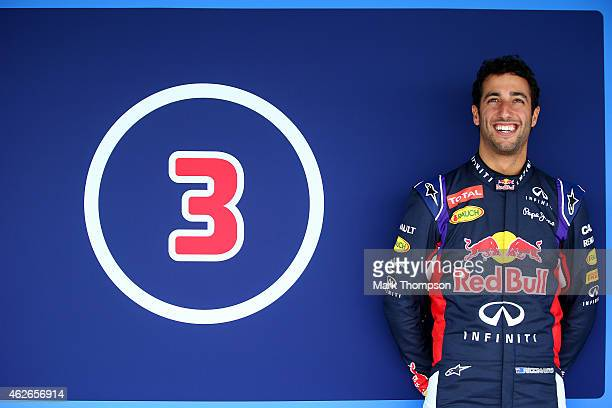 Daniel Ricciardo of Australia and Infiniti Red Bull Racing poses outside the garage during day two of Formula One Winter Testing at Circuito de Jerez...