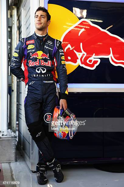 Daniel Ricciardo of Australia and Infiniti Red Bull Racing prepares to drive during day four of Formula One Winter Testing at the Bahrain...