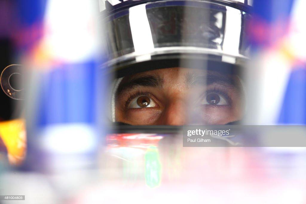 Daniel Ricciardo of Australia and Infiniti Red Bull Racing prepares to drive during practice for the Malaysia Formula One Grand Prix at the Sepang Circuit on March 28, 2014 in Kuala Lumpur, Malaysia.