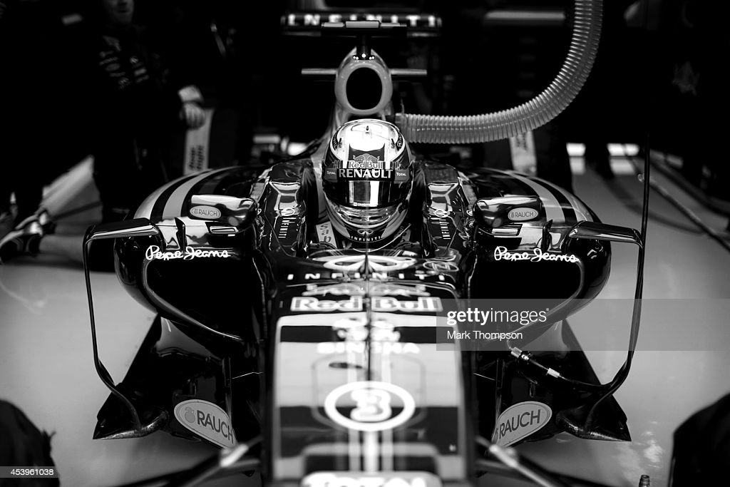 Daniel Ricciardo of Australia and Infiniti Red Bull Racing sits in his car in the garage during practice ahead of the Belgian Grand Prix at Circuit de Spa-Francorchamps on August 22, 2014 in Spa, Belgium.