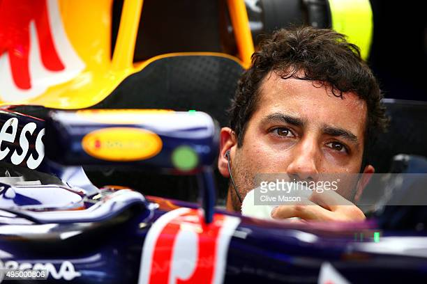 Daniel Ricciardo of Australia and Infiniti Red Bull Racing sits in his car in the garage during practice for the Formula One Grand Prix of Mexico at...