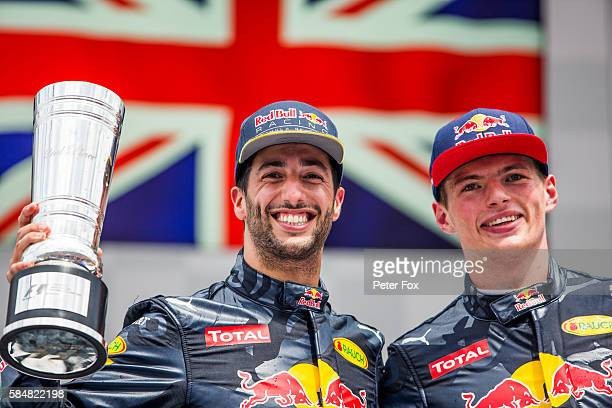 Daniel Ricciardo of Australia and Max Verstappen of The Netherlands both of Red Bull Racing during the Formula One Grand Prix of Germany at...