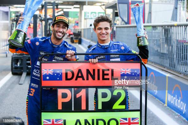 Daniel Ricciardo of Australia and McLaren and Lando Norris of McLaren and Great Britain celebrate finishing 1-2 during the F1 Grand Prix of Italy at...