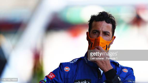 Daniel Ricciardo of Australia and McLaren F1 looks dejected as he walks in the Pitlane after crashing during qualifying ahead of the F1 Grand Prix of...