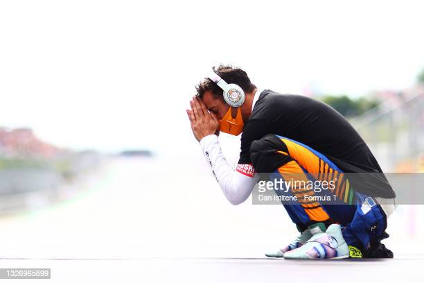 Daniel Ricciardo of Australia and McLaren F1 prepares to drive on the grid before the F1 Grand Prix of Austria at Red Bull Ring on July 04, 2021 in...