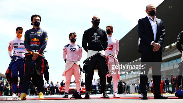 Daniel Ricciardo of Australia and McLaren F1, Sergio Perez of Mexico and Red Bull Racing, Yuki Tsunoda of Japan and Scuderia AlphaTauri, Lewis...