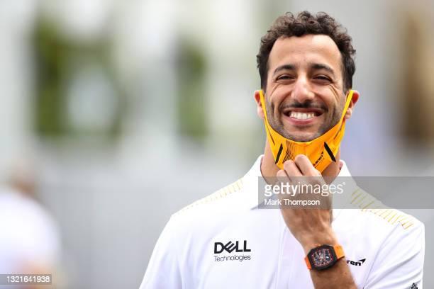 Daniel Ricciardo of Australia and McLaren F1 walks in the Paddock prior to practice ahead of the F1 Grand Prix of Azerbaijan at Baku City Circuit on...