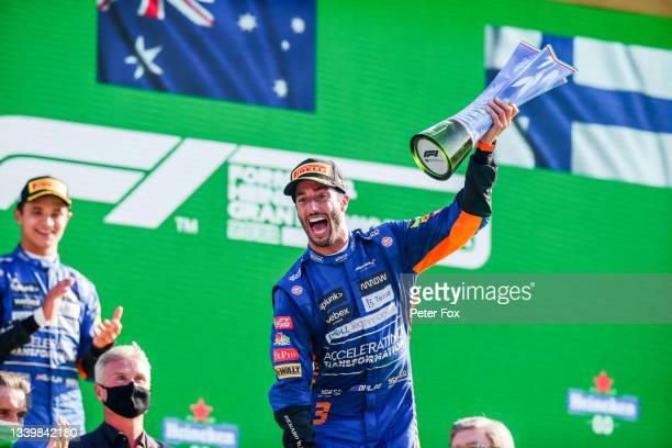 Daniel Ricciardo of Australia and McLaren wins the F1 Grand Prix of Italy at Autodromo di Monza on September 12, 2021 in Monza, Italy.