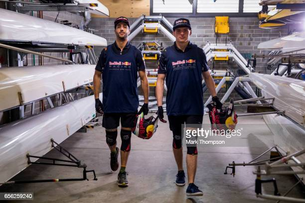Daniel Ricciardo of Australia and Red Bull Racing and Max Verstappen of Netherlands and Red Bull Racing prepare to go out on the river for the Red...