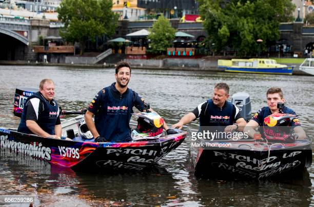 Daniel Ricciardo of Australia and Red Bull Racing and Max Verstappen of Netherlands and Red Bull Racing at the end of the Red Bull Racing Dinghy Dash...