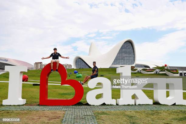 Daniel Ricciardo of Australia and Red Bull Racing and Max Verstappen of Netherlands and Red Bull Racing pose for a photo at the Heydar Aliyev Centre...