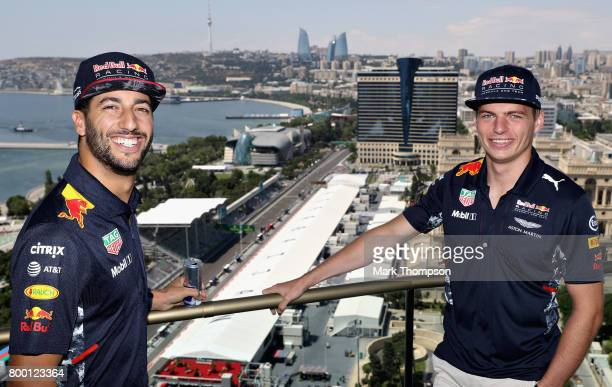 Daniel Ricciardo of Australia and Red Bull Racing and Max Verstappen of Netherlands and Red Bull Racing during practice for the Azerbaijan Formula...