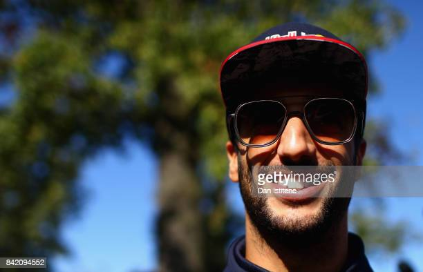 Daniel Ricciardo of Australia and Red Bull Racing arrives at the circuit before the Formula One Grand Prix of Italy at Autodromo di Monza on...