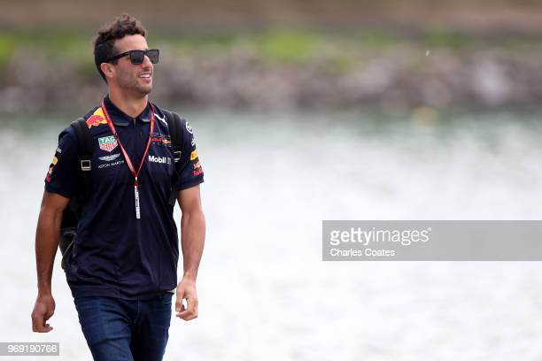 Daniel Ricciardo of Australia and Red Bull Racing arrives at the circuit during previews ahead of the Canadian Formula One Grand Prix at Circuit...