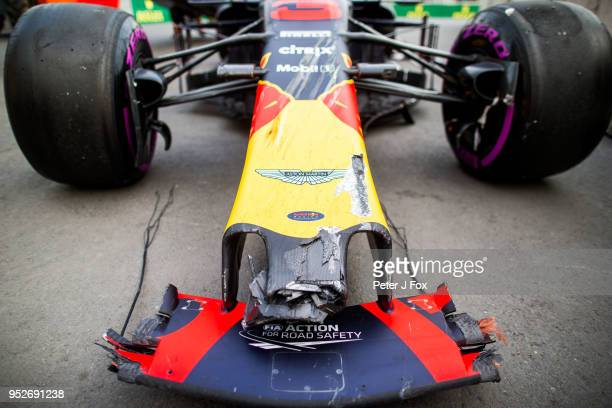 Daniel Ricciardo of Australia and Red Bull Racing car after his crash with Max Verstappen of Red Bull Racing and The Netherlands during the...