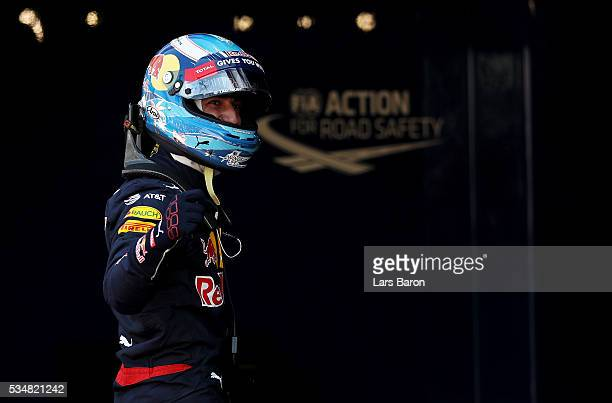 Daniel Ricciardo of Australia and Red Bull Racing celebrates his pole position in parc ferme during qualifying for the Monaco Formula One Grand Prix...