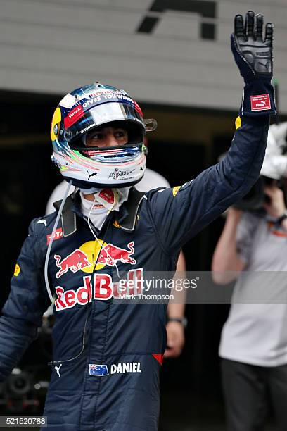 Daniel Ricciardo of Australia and Red Bull Racing celebrates qualifying in second position in parc ferme during qualifying for the Formula One Grand...