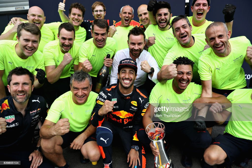 Daniel Ricciardo of Australia and Red Bull Racing celebrates finishing in third place with his team after the Formula One Grand Prix of Belgium at Circuit de Spa-Francorchamps on August 27, 2017 in Spa, Belgium.