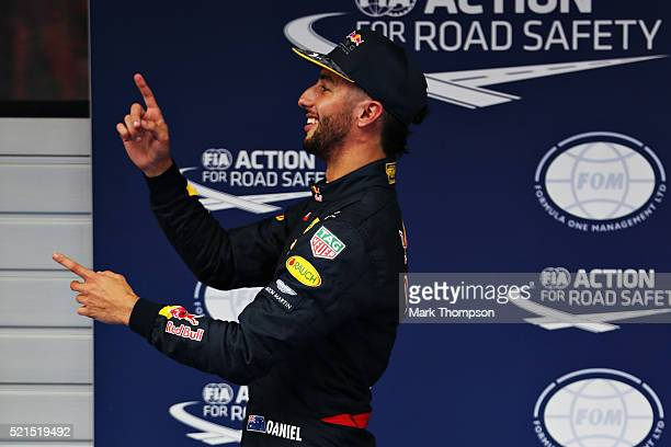 Daniel Ricciardo of Australia and Red Bull Racing celebrates qualifying second in parc ferme during qualifying for the Formula One Grand Prix of...