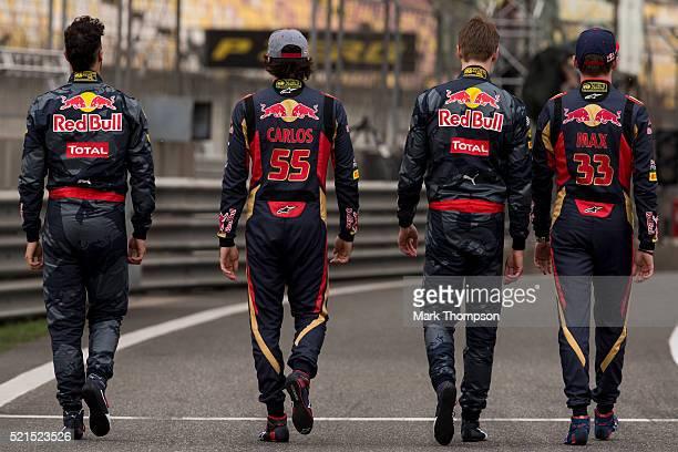Daniel Ricciardo of Australia and Red Bull Racing Daniil Kvyat of Russia and Red Bull Racing Carlos Sainz of Spain and Scuderia Toro Rosso and Max...
