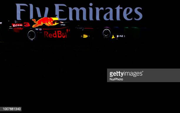 Daniel Ricciardo of Australia and Red Bull Racing driver goes during the race at Hungarian Rolex Formula 1 Grand Prix on Jul 29 2018 in Mogyoród...