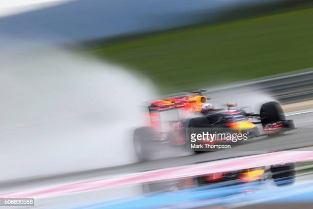 Daniel Ricciardo of Australia and Red Bull Racing drives during wet weather tyre testing at Circuit Paul Ricard on January 25 2016 in Le Castellet...