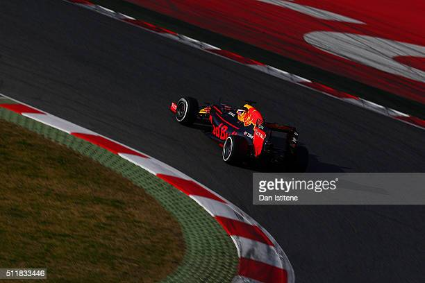 Daniel Ricciardo of Australia and Red Bull Racing drivesduring day two of F1 winter testing at Circuit de Catalunya on February 23 2016 in Montmelo...