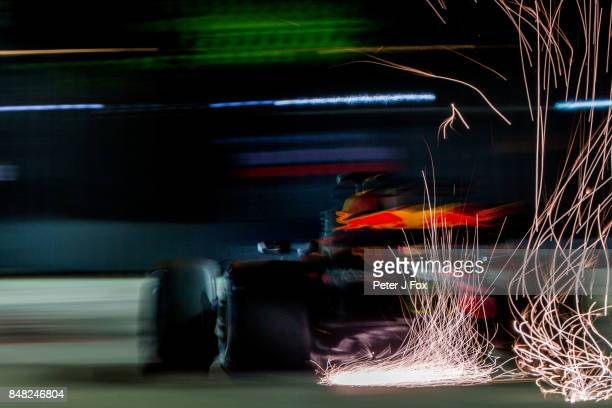 Daniel Ricciardo of Australia and Red Bull Racing during qualifying for the Formula One Grand Prix of Singapore at Marina Bay Street Circuit on...