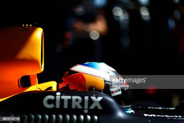 Daniel Ricciardo of Australia and Red Bull Racing exits the garage during final practice for the Spanish Formula One Grand Prix at Circuit de...