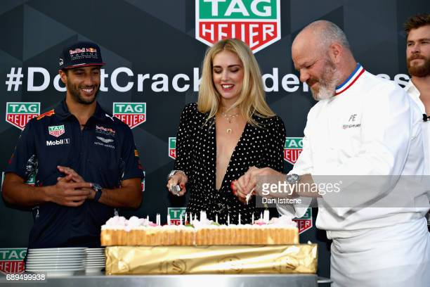 Daniel Ricciardo of Australia and Red Bull Racing Fashion blogger and model Chiara Ferragni and Chef Philippe Etchebest at the TAG Heuer Culinary...