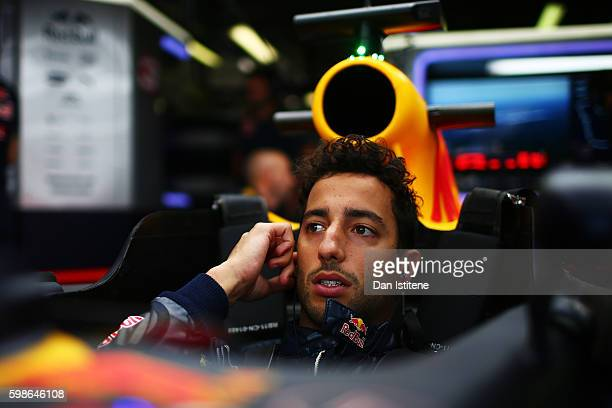 Daniel Ricciardo of Australia and Red Bull Racing gets ready in his car in the garage during practice for the Formula One Grand Prix of Italy at...