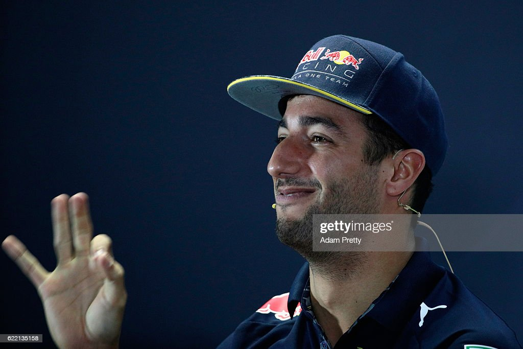 Daniel Ricciardo of Australia and Red Bull Racing in the Drivers Press Conference during previews for the Formula One Grand Prix of Brazil at Autodromo Jose Carlos Pace on November 10, 2016 in Sao Paulo, Brazil.