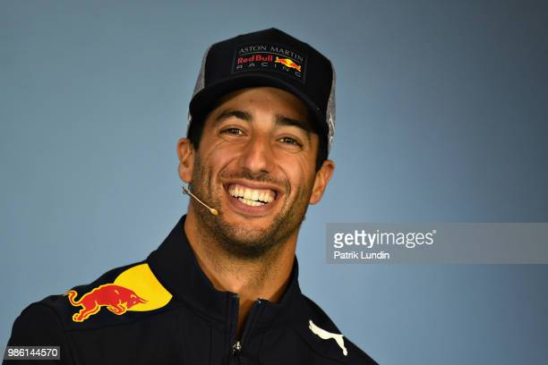 Daniel Ricciardo of Australia and Red Bull Racing in the Drivers Press Conference during previews ahead of the Formula One Grand Prix of Austria at...