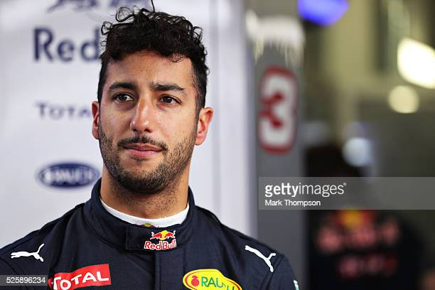 Daniel Ricciardo of Australia and Red Bull Racing in the garage during practice for the Formula One Grand Prix of Russia at Sochi Autodrom on April...