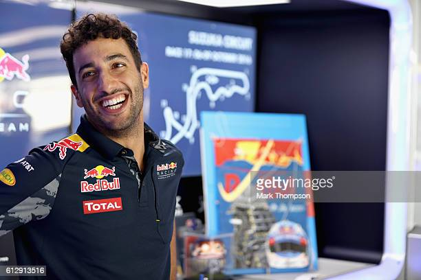 Daniel Ricciardo of Australia and Red Bull Racing in the garage during previews ahead of the Formula One Grand Prix of Japan at Suzuka Circuit on...