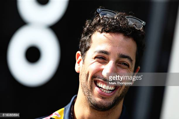 Daniel Ricciardo of Australia and Red Bull Racing in the Paddock during previews to the Australian Formula One Grand Prix at Albert Park on March 17...