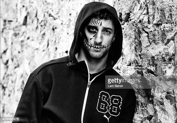 Daniel Ricciardo of Australia and Red Bull Racing joins friends at Puma at the Ofrendomo in Mexico City for a Dia de Muertos themed night during...