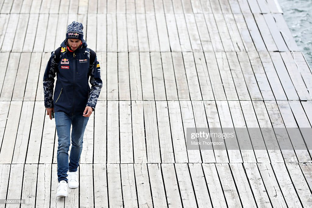 Daniel Ricciardo of Australia and Red Bull Racing leaves the circuit during previews to the Canadian Formula One Grand Prix at Circuit Gilles Villeneuve on June 9, 2016 in Montreal, Canada.