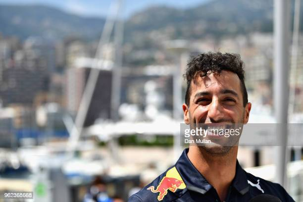 Daniel Ricciardo of Australia and Red Bull Racing looks on during previews ahead of the Monaco Formula One Grand Prix at Circuit de Monaco on May 25...